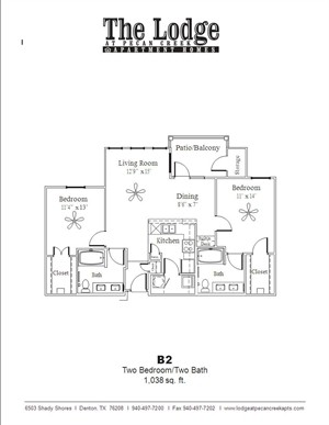 1,038 sq. ft. B2 floor plan