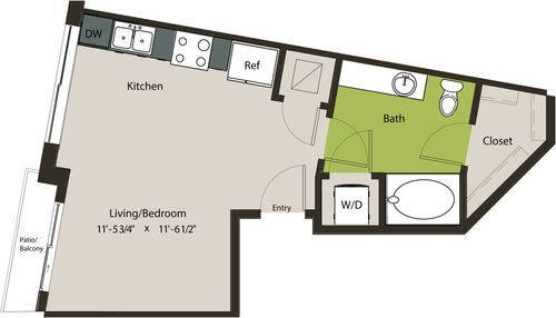 453 sq. ft. E2 floor plan