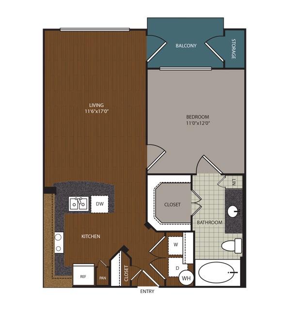 654 sq. ft. to 722 sq. ft. Redmond floor plan