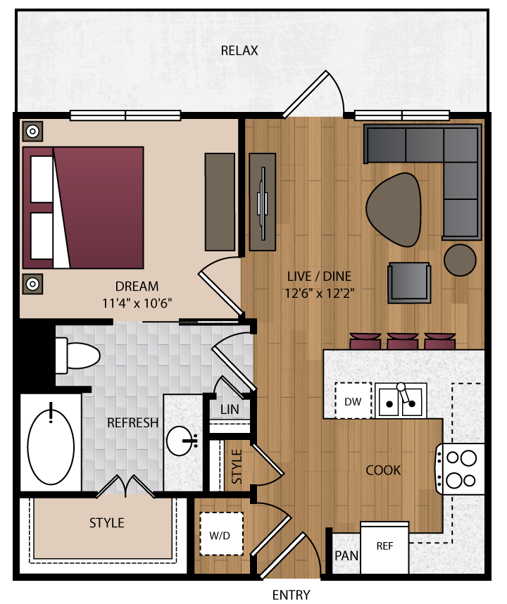 619 sq. ft. A5 floor plan