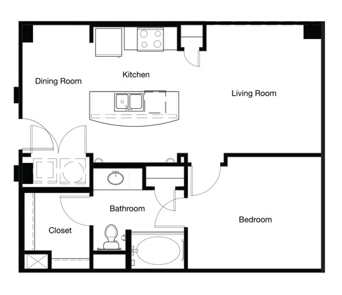 702 sq. ft. A1B-II floor plan