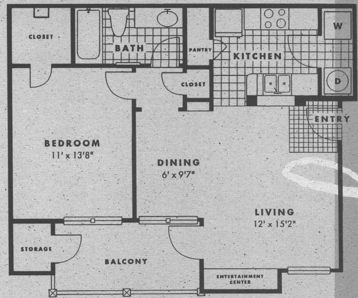 677 sq. ft. A1 floor plan