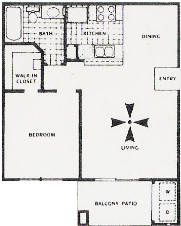 603 sq. ft. B floor plan