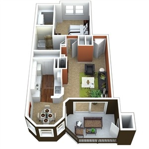 775 sq. ft. 1B floor plan