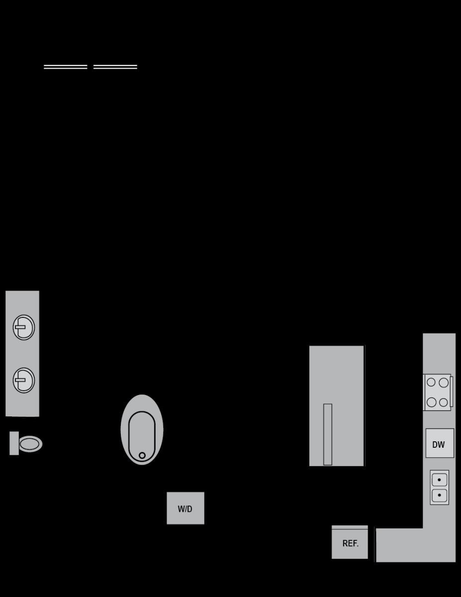 934 sq. ft. A13 floor plan