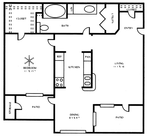 829 sq. ft. A2 floor plan