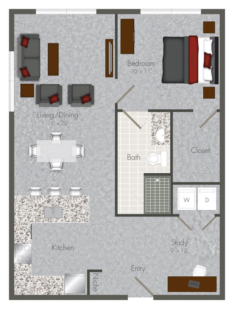 755 sq. ft. 1S-X2 floor plan