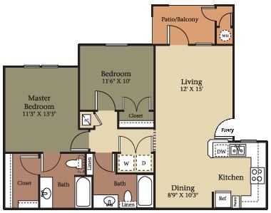 960 sq. ft. B2/60% floor plan