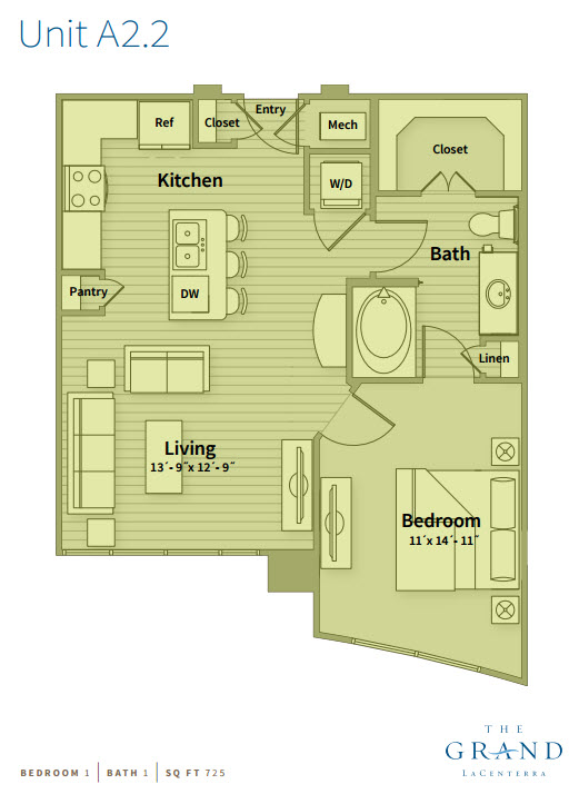 725 sq. ft. A2.1 floor plan