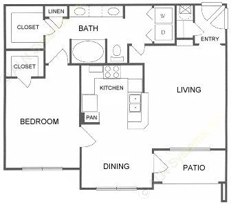 839 sq. ft. B floor plan