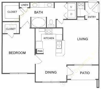 839 sq. ft. B floor plan