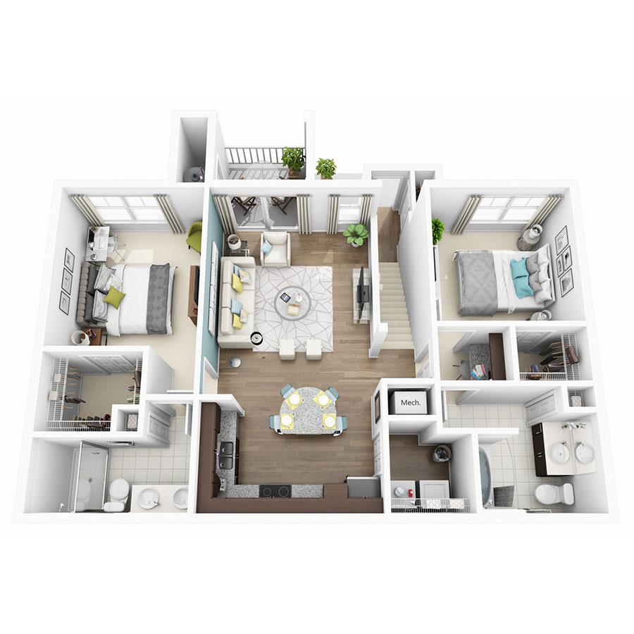 1,065 sq. ft. to 1,086 sq. ft. Euphoria floor plan