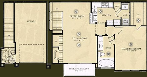 908 sq. ft. A3 - CEZANNE floor plan