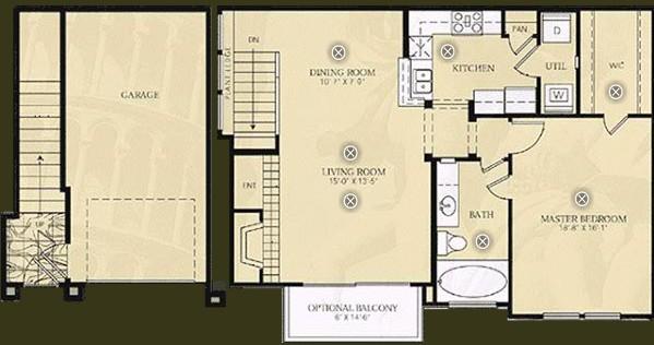908 sq. ft. A3 - Cezanne floor plan