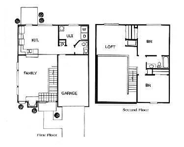 1,100 sq. ft. TOWNHOME floor plan