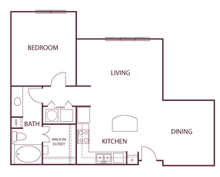 920 sq. ft. A5 floor plan