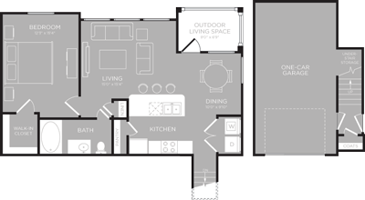 840 sq. ft. Lady Bird floor plan