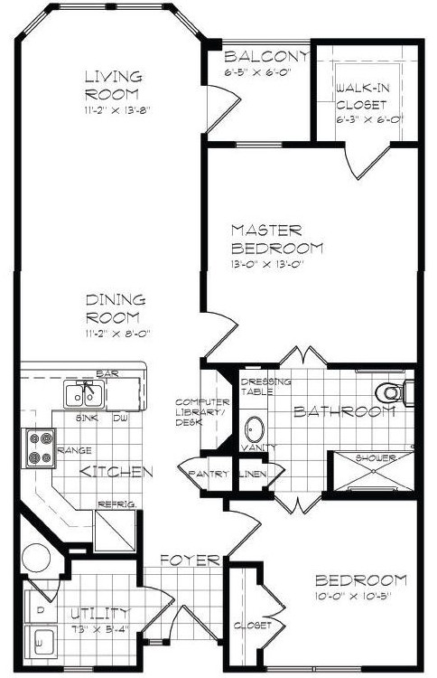 950 sq. ft. B1 60% floor plan