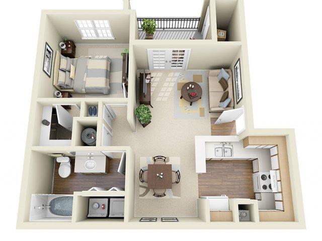 675 sq. ft. Varano floor plan