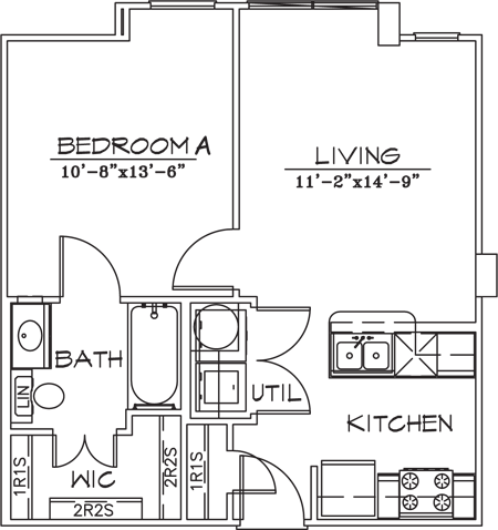 541 sq. ft. floor plan