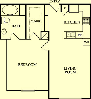 750 sq. ft. Mockingbird/60% floor plan