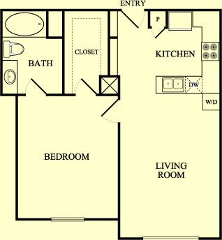 750 sq. ft. Mockingbird/60% floor plan
