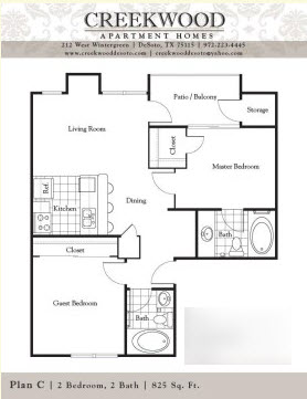 825 sq. ft. C floor plan