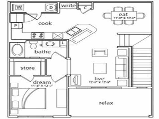 956 sq. ft. Naples floor plan