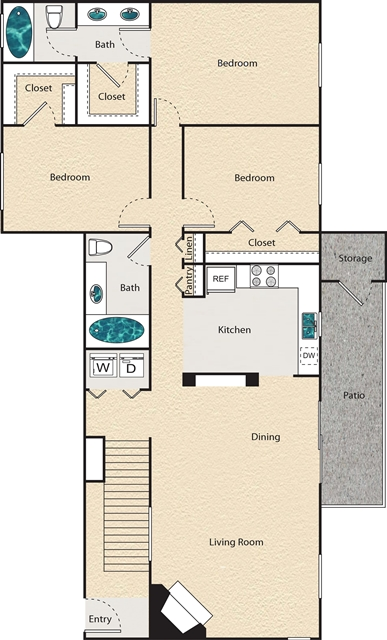 1,345 sq. ft. Q - Yorkshire floor plan
