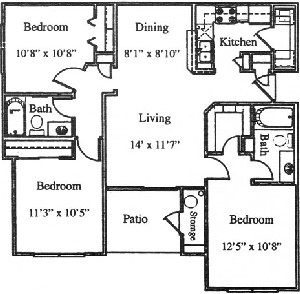 1,034 sq. ft. C2/60% floor plan