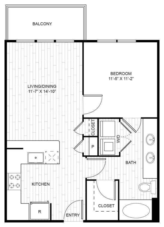 668 sq. ft. A2 floor plan