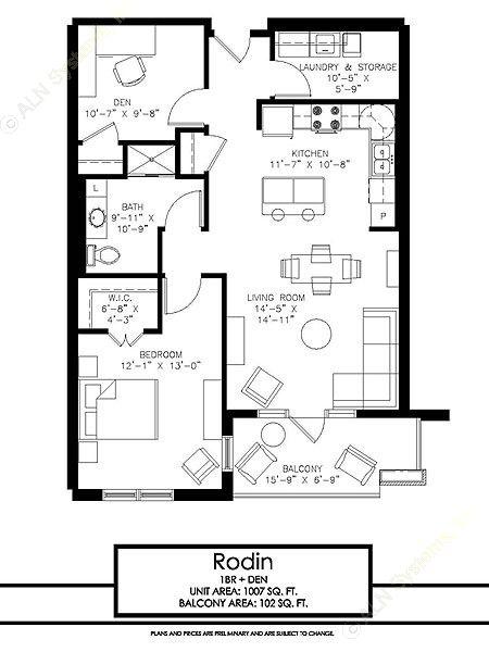1,007 sq. ft. Rodin floor plan