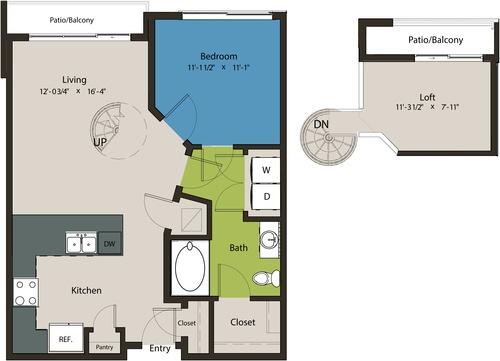 829 sq. ft. A1D-L1 floor plan