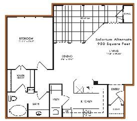 950 sq. ft. Lilly - Solarium floor plan