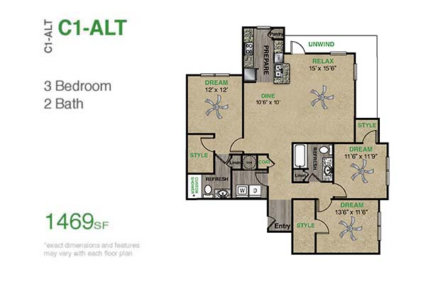1,469 sq. ft. C1.2A floor plan