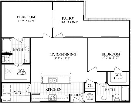 1,168 sq. ft. E1 floor plan