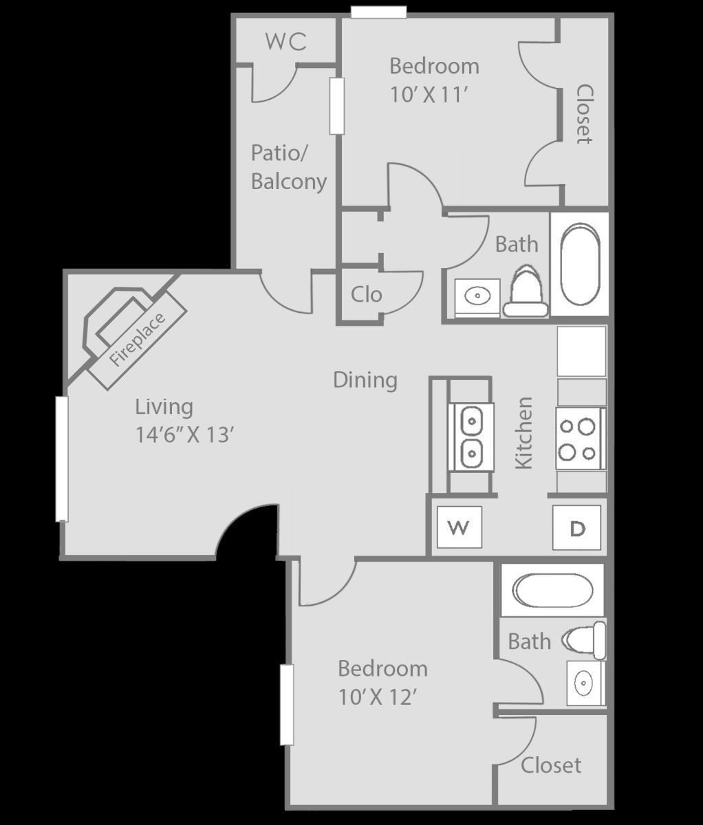 814 sq. ft. Hamilton floor plan