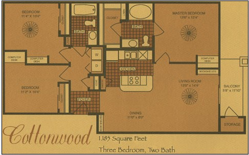 1,185 sq. ft. C1 floor plan