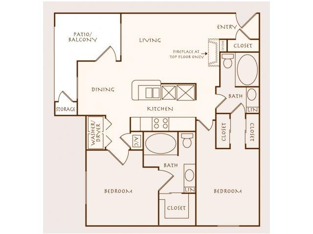 1,143 sq. ft. Temarind floor plan