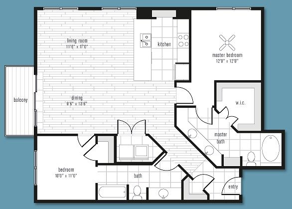1,290 sq. ft. to 1,623 sq. ft. B floor plan