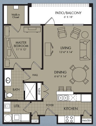 828 sq. ft. Hadron floor plan