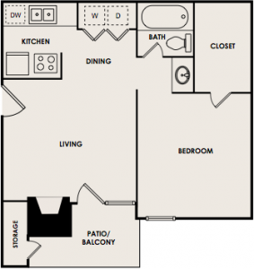 485 sq. ft. A1 floor plan