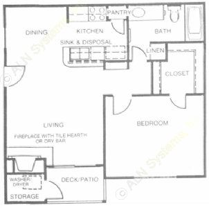 672 sq. ft. Blue Topaz floor plan