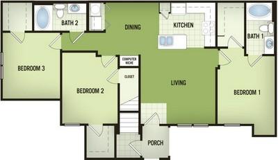 1,249 sq. ft. C1-G floor plan