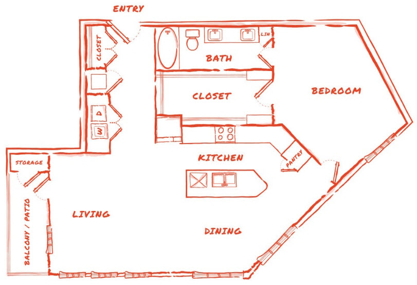 1,146 sq. ft. A5 floor plan