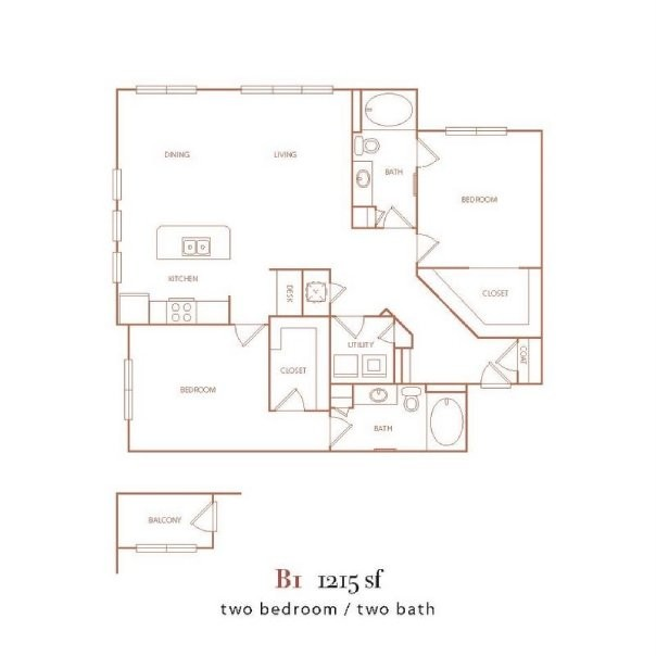 1,215 sq. ft. B1 floor plan