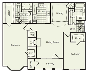 1,332 sq. ft. E2 floor plan