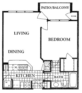 600 sq. ft. floor plan