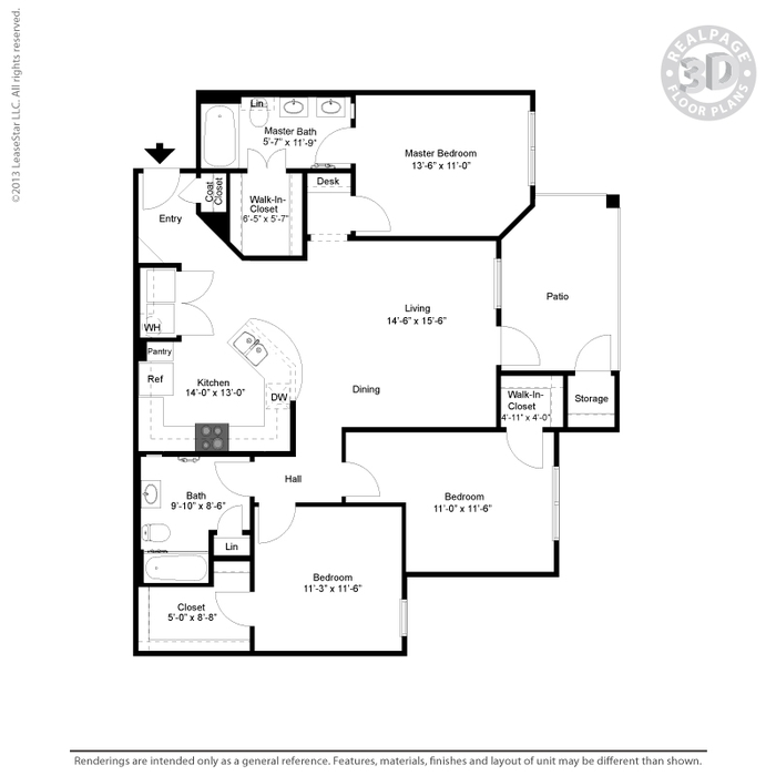 1,282 sq. ft. C1/HC floor plan