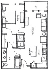 730 sq. ft. A2/60% floor plan